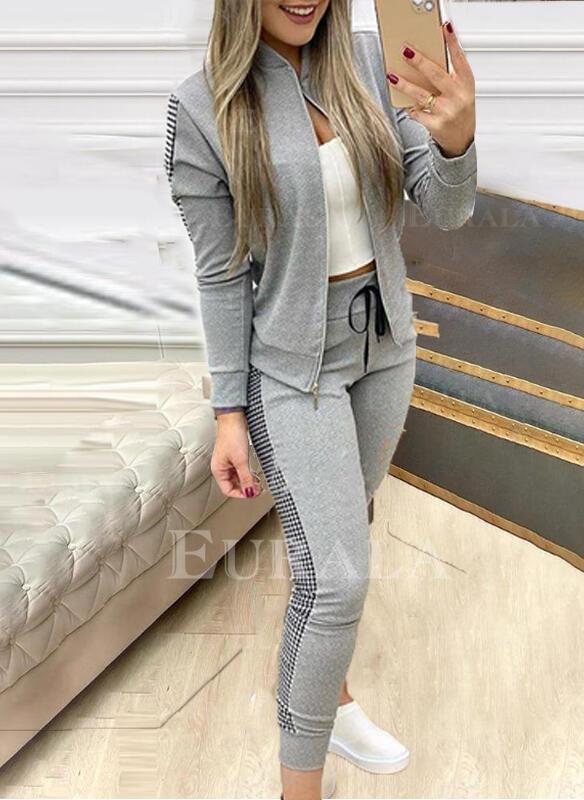 Patchwork Plaid Plus Size Casual Sporty Suits