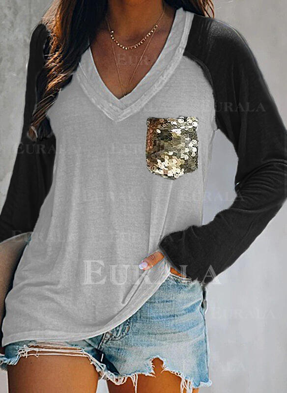 Color Block Sequins V-Neck Long Sleeves Casual T-shirts