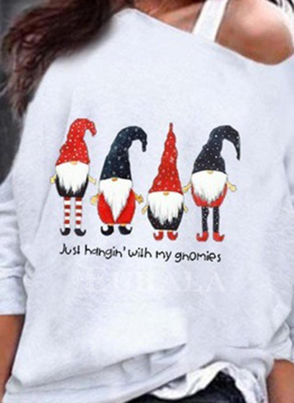 Print En-axels Långa ärmar Fritids Jul Stickning T-shirts