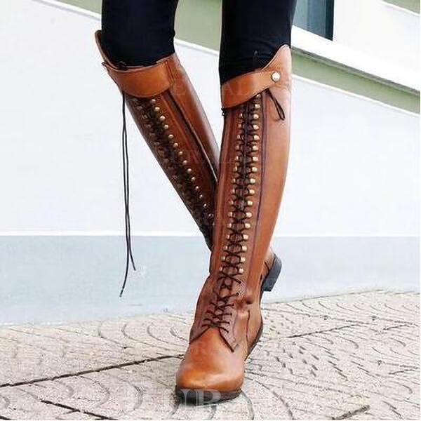 Mulheres Couro Salto baixo Botas com Rivet Zíper sapatos