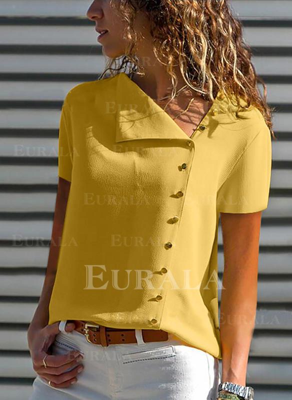 Solid lapel Korta ärmar Knäpp upp Fritids Skjorta Blusar
