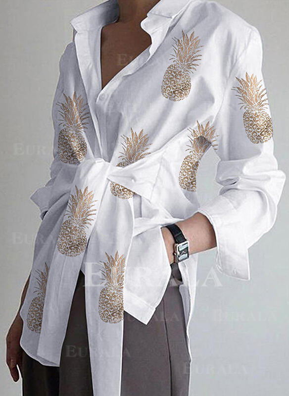 Распечатать отворот Длинные рукова Повседневная Рубашка Блузки