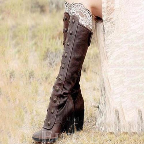 Bayanlar suni deri Tıknaz Topuk Pompalar bot ayakkabı Ile Perçin Fermuar ayakkabı