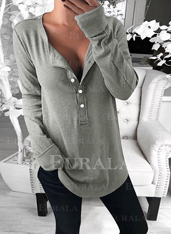 твердый V шеи Длинные рукова Кнопка вверх Повседневная Базовый Блузы