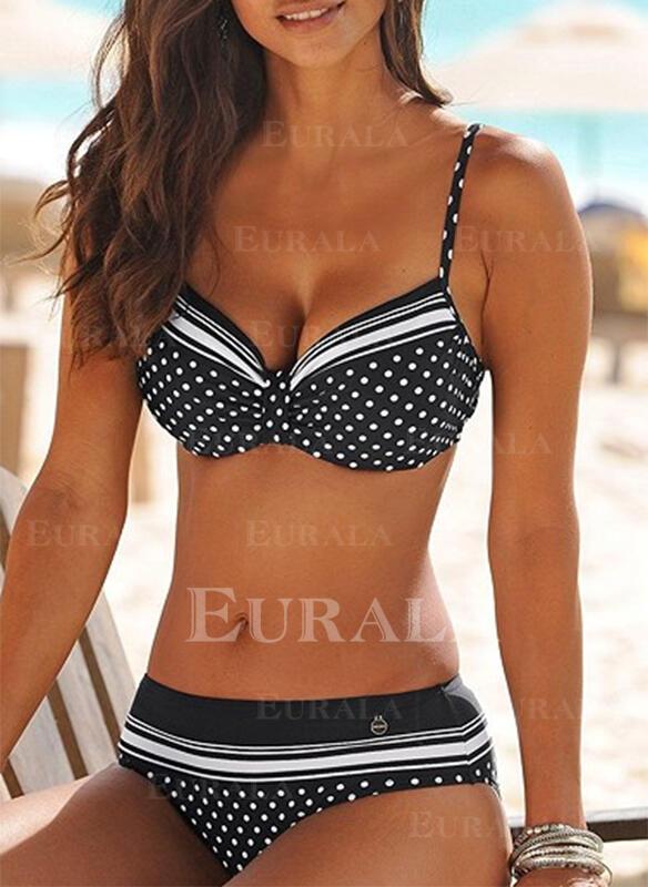 Dot Patchwork Strap Sexy Elegant Bikinis Swimsuits