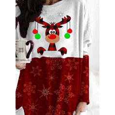 Animal Print Sequins Pockets Round Neck Long Sleeves Christmas Sweatshirt