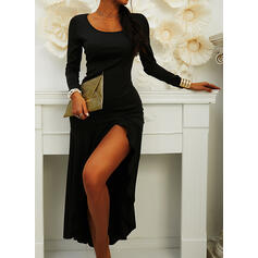 Solid Long Sleeves Sheath Asymmetrical Little Black/Party Dresses