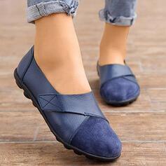 Frauen PU Flascher Absatz Flache Schuhe Low Top Slipper mit Einfarbig Schuhe