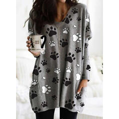 Animal Print Pockets Round Neck Long Sleeves Sweatshirt