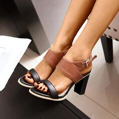 Women's PU Chunky Heel Sandals Peep Toe With Buckle shoes