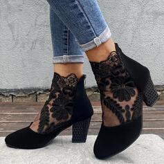 Mulheres Camurça Salto robusto Botas com Aplicação Laço costurado Zíper Floral sapatos