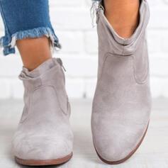 Vrouwen Suede Chunky Heel Enkel Laarzen Puntige teen met Rits Anderen Effen kleur schoenen