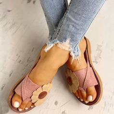 Bayanlar PU Düz topuk Sandalet Flats Parmak arası terlik Terlik Toe Ring Ile Çiçek ayakkabı