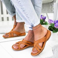 PU Sem salto Sandálias Sem salto com Alça trançada sapatos