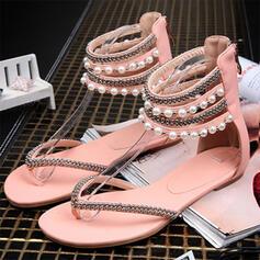 Dla kobiet PU Płaski Obcas Sandały Z Imitacja Pereł obuwie