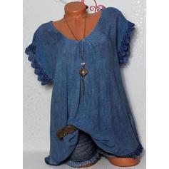 Jednobarevný Kulatý Výstřih Krátké rukávy Neformální Bluze