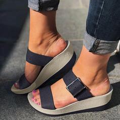 Mulheres PU Plataforma Sandálias Calços Peep toe Chinelos com Fivela sapatos