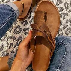 Mulheres PU Sem salto Sandálias Chinelos Anel de dedo do pé com Oca-out Cor sólida sapatos