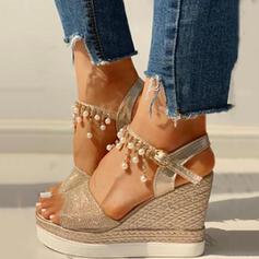 Women's PU Wedge Heel Sandals Wedges Peep Toe With Rhinestone shoes