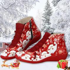 Mulheres PU Sem salto Bota no tornozelo Toe rodada Botas de inverno com Aplicação de renda Cor da emenda sapatos