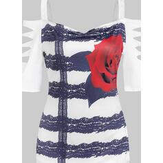 Распечатать Цветочный кружевной Холодный прием 1/2 рукава Повседневная Блузы