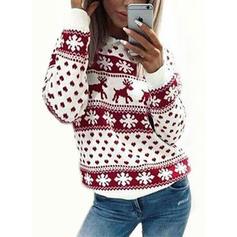 Estampado Animal Cuello Redondo Casuales Navidad Suéteres