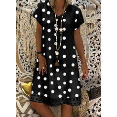 PolkaDot Short Sleeves Shift Knee Length Casual Dresses