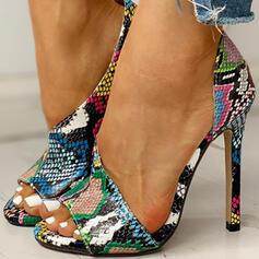 De mujer PU Tacón stilettos Sandalias Salón Encaje Tacones con Estampado de animales zapatos