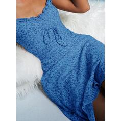Nadrukowana/Kwiatowy Krótkie rękawy/Bufiaste rękawy Pokrowiec Nad kolana Casual Sukienki