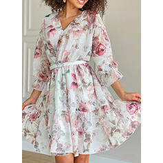 Print/Floral 3/4 Sleeves/Puff Sleeves A-line Knee Length Casual Dresses
