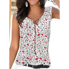 Распечатать Цветочный Шею безрукавный Повседневная Блузы