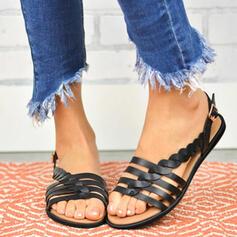 PU Düz topuk Sandalet Flats Peep Toe Ile Toka ayakkabı