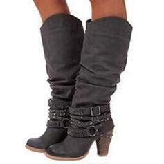 Pentru Femei Imitaţie de Piele Toc gros Încălţăminte cu Toc Înalt Cizme cu Volane pantofi