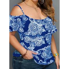 Распечатать Холодный прием С коротким рукавом Повседневная Большой размер Блузы