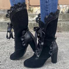 Mulheres PU Salto robusto Botas Botas na panturrilha com Ruched Aplicação de renda sapatos