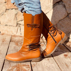 Női Műbőr Alacsony sarok Mid-Calf Csizma Kerek lábujj -Val Csat cipő