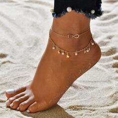 Infinity Alloy With Imitation Pearl Star Anklets (Set of 2)