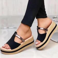 Bayanlar Gerçek deri Sivri topuk Sandalet platform Takozlar Peep Toe Terlik Ile Oymak Bölünmüş Eklem ayakkabı