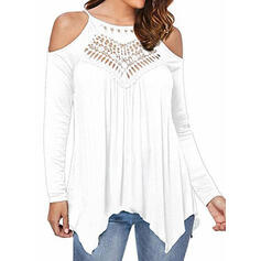 Solid Patchwork Lace Cold Shoulder Long Sleeves Casual Knit Blouses