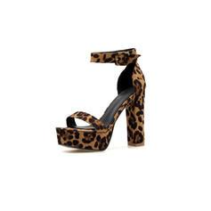 Bayanlar Mikrofiber Deri Tıknaz Topuk Pompalar Ile Hayvan baskı ayakkabı