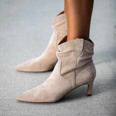 Women's Suede Stiletto Heel Ankle Boots Pointed Toe With Solid Color shoes