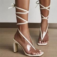 Сандалии Насосы Peep Toe Шлепки Квадратный носок с Зашнуровать Сплошной цвет обувь