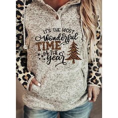 Print Leopard Figure Pockets Long Sleeves Christmas Sweatshirt
