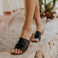 Pentru Femei PU Fară Toc Sandale Puţin decupat în faţă Şlapi cu De la gât înafară pantofi