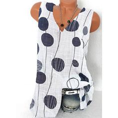 Распечатать V шеи безрукавный Повседневная Блузы