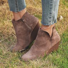Kvinnor PU Kilklack Boots med Zipper skor