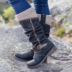 Donna Similpelle Senza tacco Stivali altezza media Punta rotonda con Cerniera Bottone scarpe