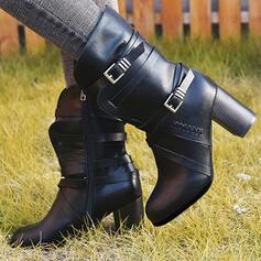 Kvinnor PU Tjockt Häl Stövlar med Spänne Zipper skor