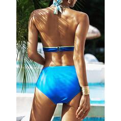 Tryck Knölig Grimma Extra stor storlek Färgglada bikini Badkläder