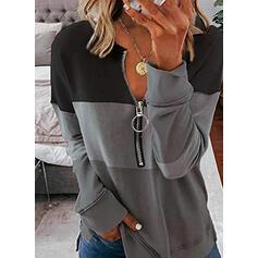 Color Block V-Neck Long Sleeves Sweatshirt